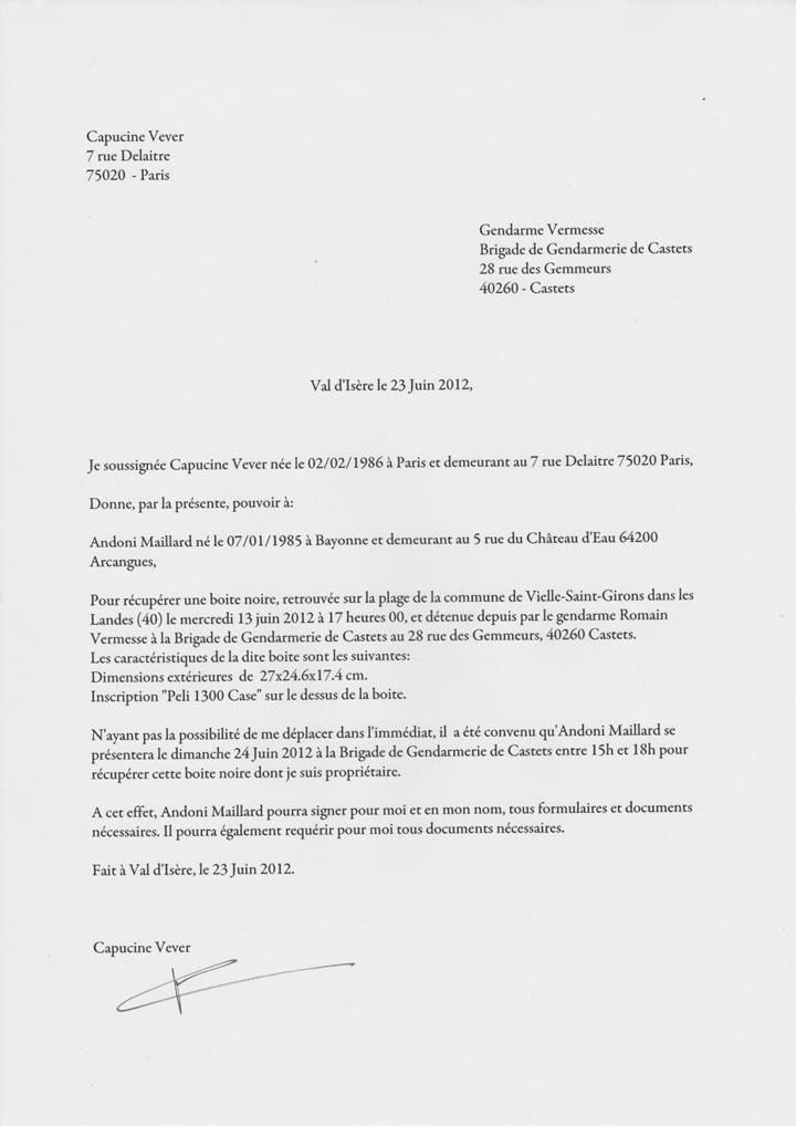 Modèles de lettres pour Compte rendu gendarmerie